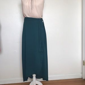 White House Black Market green faux wrap skirt